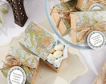 Around the World Favor Boxes - World Map Favor Box - Travel Theme, Wanderlust Wedding Birthday Favor Boxes - Baby Shower Candy Box. 12 boxes