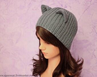 Gray Cat Hat, Knit Cat Ears Hat or Cat Beanie, Womens Cat Hat, art. 14