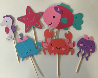 Under the sea girl birthday cupcake toppers!! Set of 12