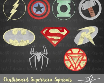 Chalkboard Superhero Symbols Clipart / Digital Clip Art for Commercial and Personal Use / INSTANT DOWNLOAD