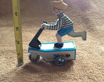 Vintage Comic Strip Smitty Scooter Boy On a Scooter Wind Up Tin Toy with No Key