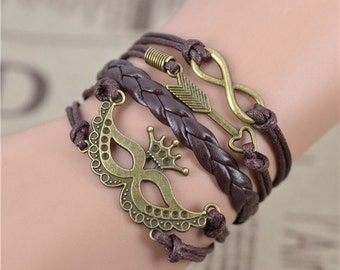 Brown, masquerade mask arrow infinity bracelet