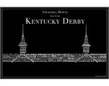 Derby Winners inSpired - 141 Kentucky Derby Winner Typography Making Up Twin Spires - Print - Multiple Sizes/Colors