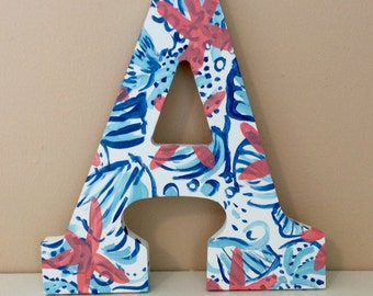 "Hand Painted Lilly Pulitzer She Sells Sea Shells Inspired 9"" Wooden Letter - FREE Shipping!"
