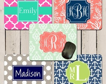 100 Monogrammed Mousepads BULK ORDER Personalized Name or Monogram Office Coworker Graduation Student Computer Gift Custom Design each one!