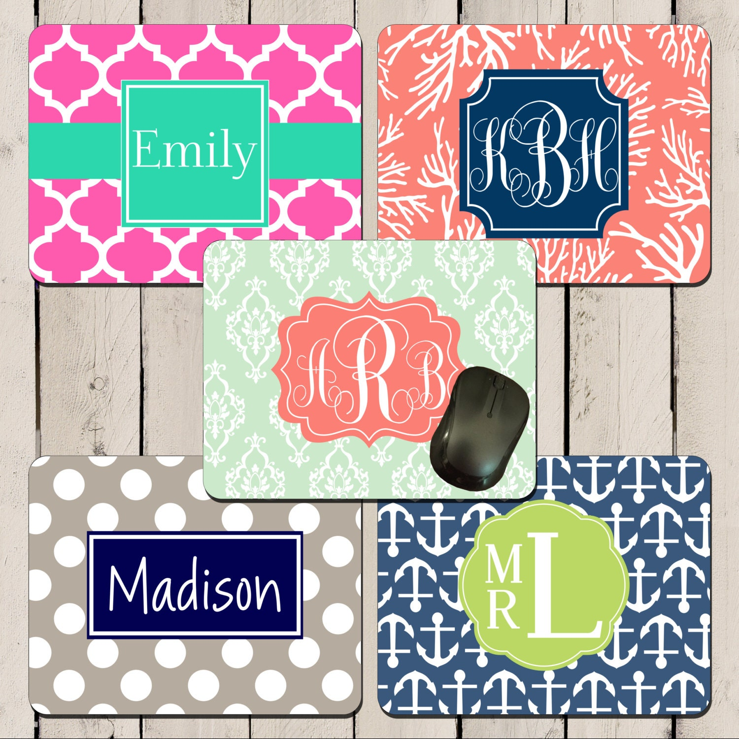 100 monogrammed mousepads bulk order personalized name or
