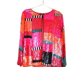 Vintage 80s Pink & Orange Sequin Evening Jacket . Retro Bright Sequined Blazer . Colour Block Art Deco Sequin Jacket