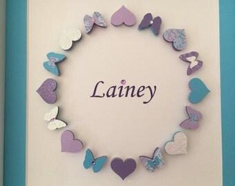 Personalized 3D Paper Art, Hearts & Butterflies