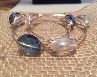 set of rose gold bangles