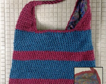 Crochet striped shoulder bag