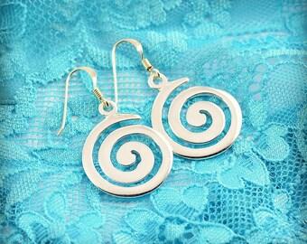 spiral silver earrings, greek earrings, spiral earrings, spiral, greek jewelry, goddess earrings, Hestias Meditation earrings, greek