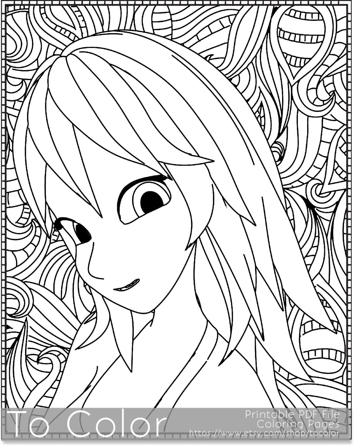 Retro girl printable coloring pages for adults 70s pdf for Retro coloring pages