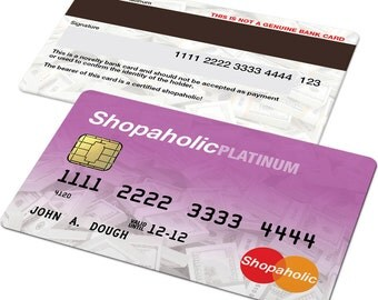 Shopaholic Custom Credit Card Novelty, Mastercard, Visa, Bride, Hen, Bachelorette, Gift, Present, Wife, Girlfriend, Mother, Daughter