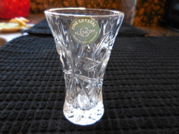 vintage lenox fine crystal vase etched crystal vase small crystal