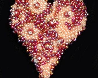 Bead Embroidery Heart Brooch