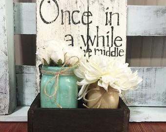 Aqua and gold mason jars with wooden box. Home decor. Wedding decor. Wedding centerpiece. Home centerpiece. Wedding shower centerpiece.