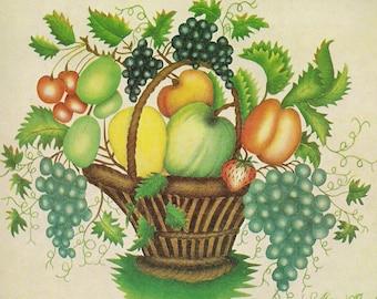 Fruit Basket - Folk Art Print - Beautiful primative - gift for artists - gift for florists