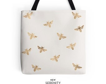 BusyBee Tote Bag, Sandy Tote Bag, Bee Tote Bag,Chic Tote,Printed Tote Bag, Work Tote Bag, Womens Tote Bag, Gift for Her, NewSerenityStudio