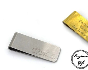Personalised Custom Handwiring, Text Engrave Steel Money Clip Steel, Brushed Steel or Gold Color in your Own Gift Ideas