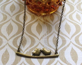 Bronze Bird on a Branch Necklace- Dainty Jewelry, Bronze Necklace, Bird Necklace, Bird Jewelry