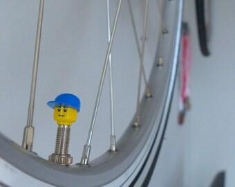 Bike Valvecaps made from LEGO ® character parts; Suitable on Presta/Sclaverandvalve & Dunlop 1x set Blue