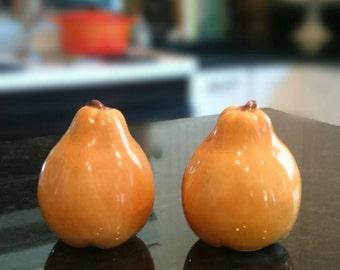 Vintage Pear Shaped Salt and Pepper Shakers/Made in Japan/Harvest Gold/Orange/Thanksgiving