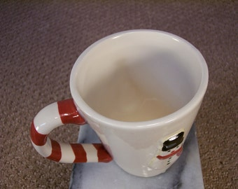 Hot Coco Cup with Snowmen and candy cane handle