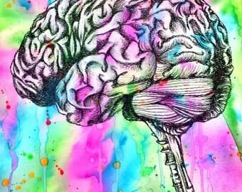 My Colorful Brain Wall Art Original Mixed media Drawing