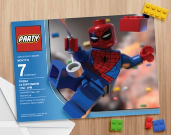 Lego Spiderman Invitation - Editable and Printable - print as many copies as you like!