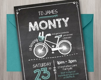 Chalkboard Birthday Invitation - Edit and Print as many copies as you like / Hipster / Bike / Bicycles / Chalk / Blackboard Party Invitation