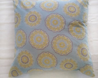 Blue and Yellow Patterned Pillow Cover