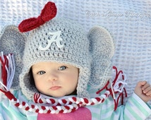 University of Alabama Inspired Crochet Baby Elephant Hat With Embroidered Logo - Newborn, 0-3 Months, 3-6 Months, 6-12 Months