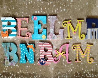 Custom nursery letters, 1-2 Custom wood letters, Letters for nursery, Letters for wall, Letters for beach house, Letters for weddings
