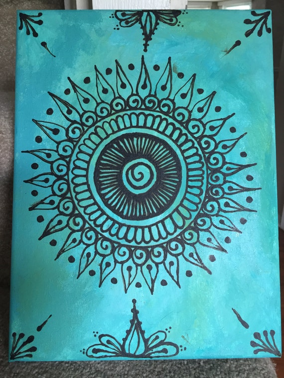 Items similar to henna canvas turquoise on etsy for Beautiful painting designs