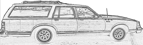 station wagon coloring pages items similar to wood paneled station wagon coloring page