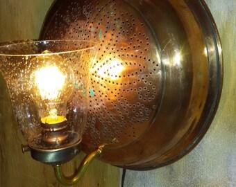 Vintage Copper Strainer Light