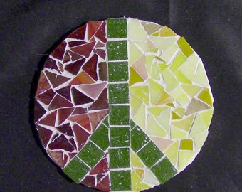 Glass Tile Mosaic Peace Sign Green/Yellow/Red