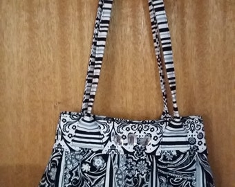 Patchwork shoulder bag  in black, grey and white