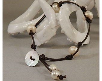 Four Corners Knotted Pearl and Leather Bracelet