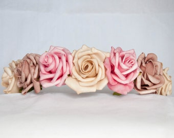 Floral Crown Flower Hairband Headband - Pink, Mink and Beige Roses Wedding Festival Bridesmaid Flowergirl Special Occasion Floral Hairband