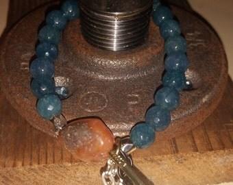 Teal jade beaded stack bracelet
