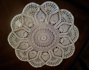 Handmade Crochet Doily - Ecru - Pineapple Design - 100% Cotton