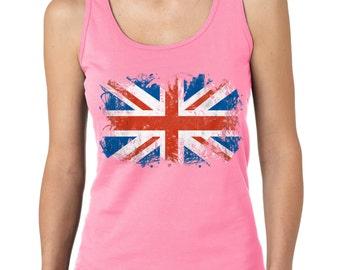 UK Flag England United Kingdom Union Jack British Flag Ladies Tank Top