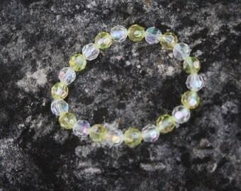 Yellow Aurora Borealis Crystal Bracelet, Aurora Borealis, Crystal Bracelet, Yellow Bracelet, Yellow Crystal Bracelet