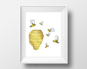 SALE -  Honeybees, Honeybees Print, Bees Print, Beehive Print, Watercolor Print, Watercolor Nature, Nature Print, Nature Poster