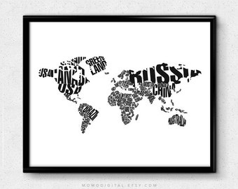 SALE -  Typography World Map, Typography Poster, World Poster, Globe Art, Typography Poster, Typography Print, Black White, Modern
