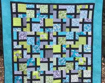 Beautiful Turquoise, Lime, Black Quilt