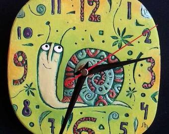 "ceramic wall clock ""The Snail"""