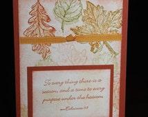 Ecclesiastes 3 autumn note card