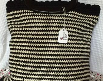 striped crocheted handbag